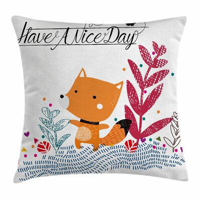 Fox Cute Character Geometric Square Pillow Cover Size: 16 x 16