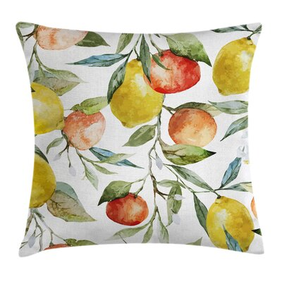 Colorful Orange Clementine Tree Pillow Cover Size: 18 x 18