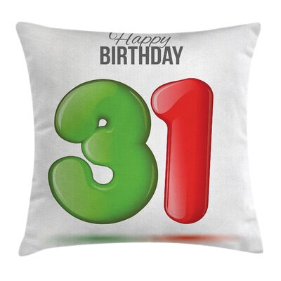 Celebration 3D Style Number Square Pillow Cover Size: 24 x 24
