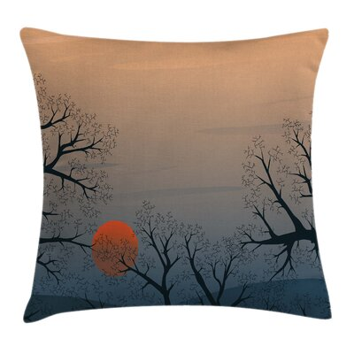 Tree Sunrise Branches Misty Sky Pillow Cover Size: 16