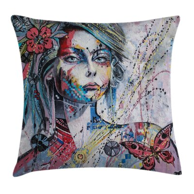 Art Fantasy Portrait of a Girl Pillow Cover Size: 16 x 16
