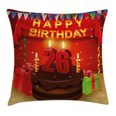 Birthday Cake Ribbons Surprise Square Pillow Cover Size: 16 x 16