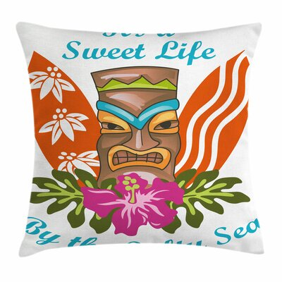 Tiki Bar Decor Quote Hibiscus Square Pillow Cover Size: 18 x 18