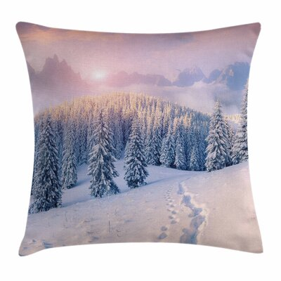 Mountain Idyllic Winter Morning Square Pillow Cover Size: 18 x 18