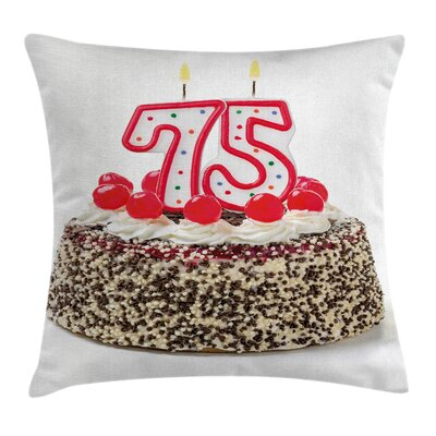 Birthday Cake Seventy Five Square Pillow Cover Size: 16 x 16