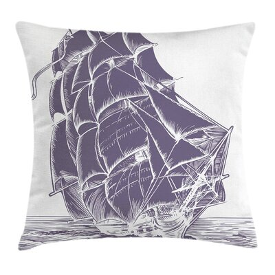 Nautical Old Sail Boat Pillow Cover Size: 24 x 24