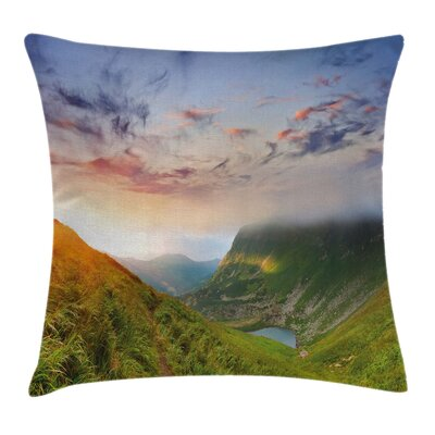 Mountain Sunrise Mottled Clouds Pillow Cover Size: 24 x 24