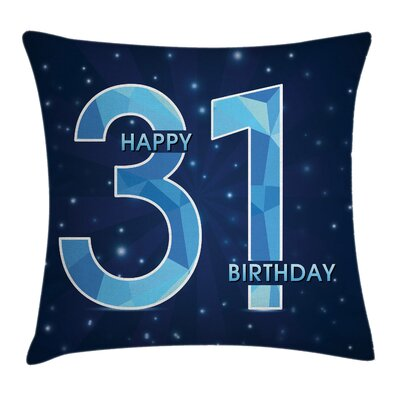 Birthday Modern Emblem Square Pillow Cover Size: 24 x 24
