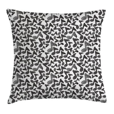 Music Notes Sketchy Doodle Art Pillow Cover Size: 20 x 20