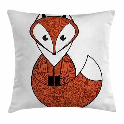 Fox Cartoon Spiral Patterns Square Pillow Cover Size: 18 x 18