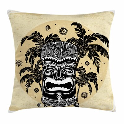 Tiki Bar Decor Mask Palm Ornate Square Pillow Cover Size: 18