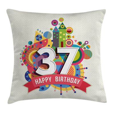 Retro Geometric Celebration Square Pillow Cover Size: 24 x 24