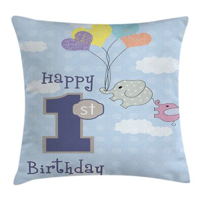 Party First Birthday Elephant Square Pillow Cover Size: 18 x 18
