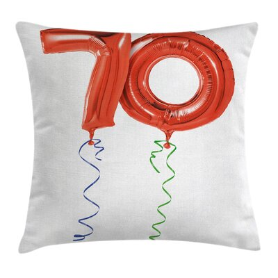 Birthday Party Flying Balloons Square Pillow Cover Size: 16 x 16