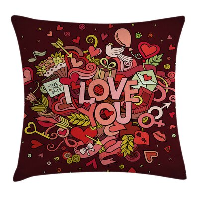 Valentine Funky Hearts Arrows Square Pillow Cover Size: 18 x 18