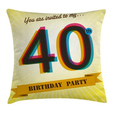 Vintage Party Invitation Pillow Cover Size: 18 x 18
