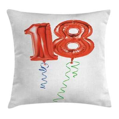 Birthday Flying Party Balloons Square Pillow Cover Size: 16 x 16