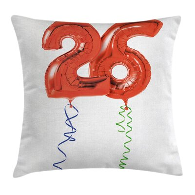 Balloons Surprise Party Square Pillow Cover Size: 18 x 18