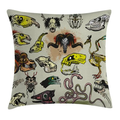 Animal Skeleton Icons Gothic Pillow Cover Size: 18 x 18