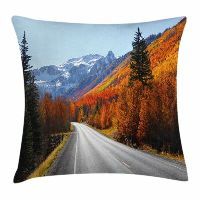 Fall Decor Highway Countryside Square Pillow Cover Size: 16 x 16