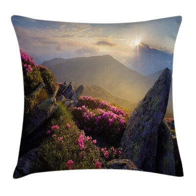 Mountain Sunrise Rhodonderons Pillow Cover Size: 16 x 16