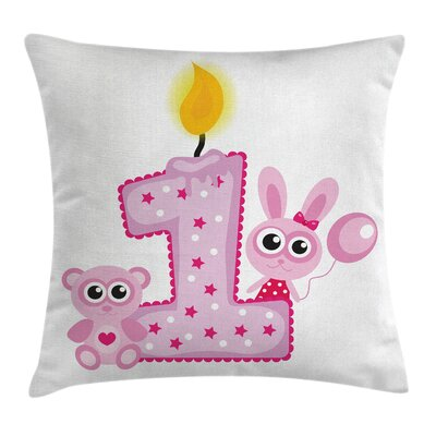 Party Girls Birthday Bunnies Square Pillow Cover Size: 18 x 18