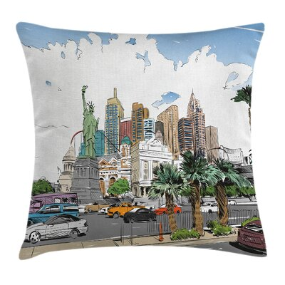 USA Las Vegas Street Sketchy Pillow Cover Size: 18 x 18