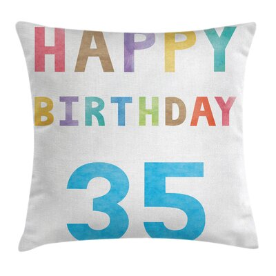 Colorful Pastel Greeting Text Square Pillow Cover Size: 24 x 24