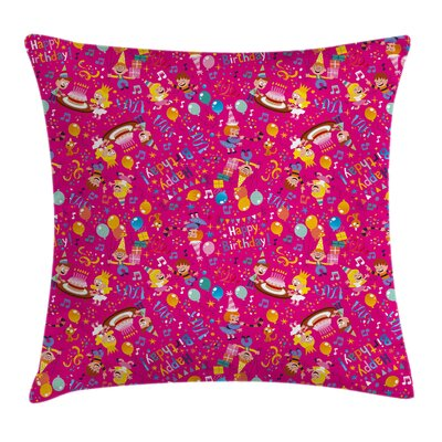 Kids Children Party Cake Happy Square Pillow Cover Size: 16 x 16