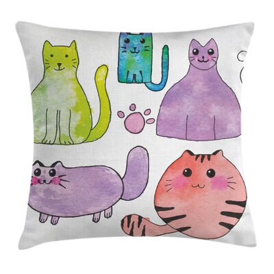 Kitten Set of Cats Watercolors Pillow Cover Size: 24 x 24