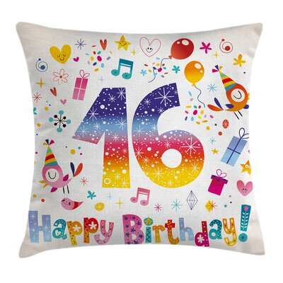 Cute Teen Celebration Square Pillow Cover Size: 16 x 16