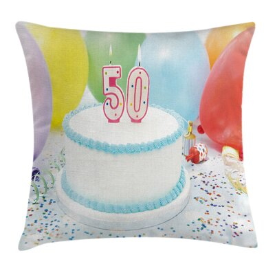 Age Fifty Cake Party Pillow Cover Size: 24 x 24