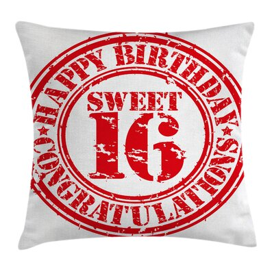 Vintage Rubber Stamp Greeting Square Pillow Cover Size: 16 x 16