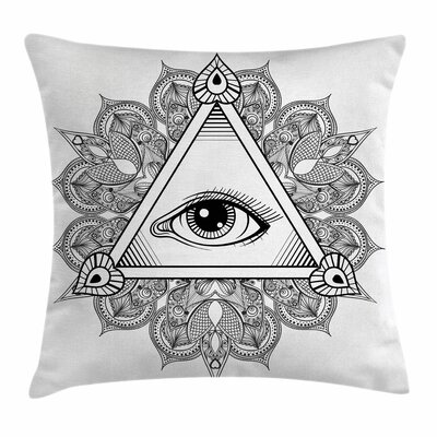 Eye Vintage Tattoo Boho Occult Square Pillow Cover Size: 24 x 24