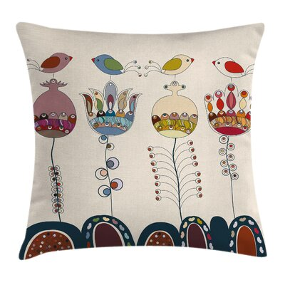Garden Stylized Birds Flowers Pillow Cover Size: 18