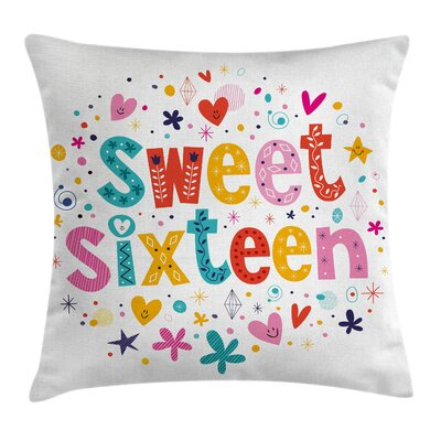 Cute Sixteen Blossoms Square Pillow Cover Size: 16 x 16
