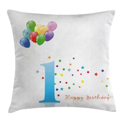 Colorful Kids First Birthday Square Pillow Cover Size: 18 x 18