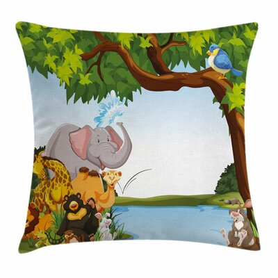 Kids Cartoon Animals Cute Funny Square Pillow Cover Size: 20 x 20
