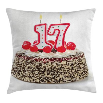 Colorful Birthday Cake Cherries Square Pillow Cover Size: 16 x 16