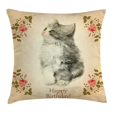 Kitten Greeting Roses Adorable Square Pillow Cover Size: 16 x 16
