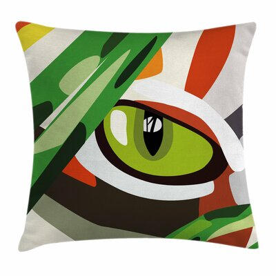 Eye Wild Tiger Feline Cat Vivid Square Pillow Cover Size: 18 x 18