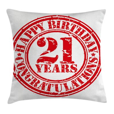 Happy Birthday Icon Pillow Cover Size: 18 x 18