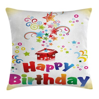 Birthday Surprise Gift Stars Square Pillow Cover Size: 18 x 18