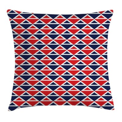 Americana Decor Half Triangles Square Pillow Cover Size: 16 x 16