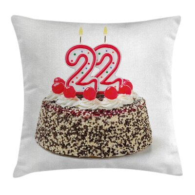 Festive Chocolate Cake Candles Square Pillow Cover Size: 16 x 16