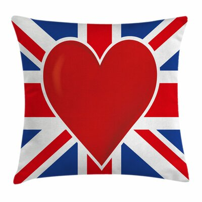 Union Jack Flag Big Heart Square Pillow Cover Size: 20 x 20