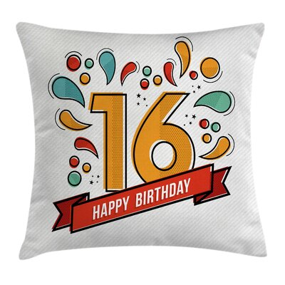 Festive Teen Modern Invitation Square Pillow Cover Size: 18 x 18