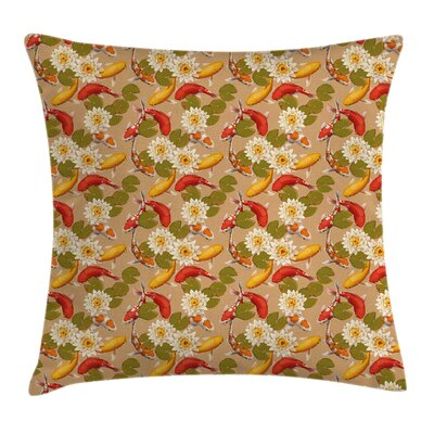 Japanese Koi Fishes Lotus Zen Pillow Cover Size: 18 x 18