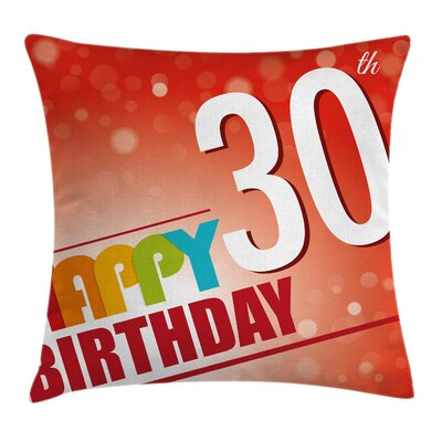 Retro Birthday Invite Poster Square Pillow Cover Size: 24 x 24