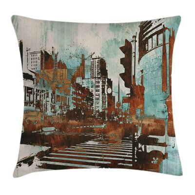 Grunge Urban Abstract Cityscape Pillow Cover Size: 24 x 24